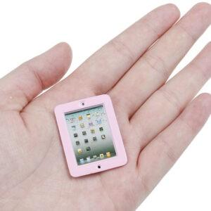 1 pieza 1:12 casa de muñecas miniatura rosa computadora portátil juguete muñeca habitación accesorios_ws