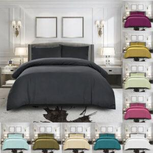 100% Egyptian Cotton Duvet Quilt Cover Bedding Set Single Double King Super King