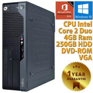 PC ORDENADOR DE ESCRITORIO RICONDIZIONATO FUJITSU DUAL CORE 4GB HDD 250 WIN 10 OFFICE