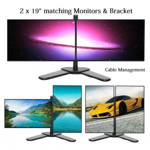2 x Dell 19 pulgadas WideScreen Monitor + DUAL STAND Monitor de juegos barato PC VGA DVI