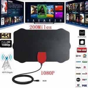200 Millas Distancia Interior TV Digital Antena HDTV 1080P 4K Amplificador