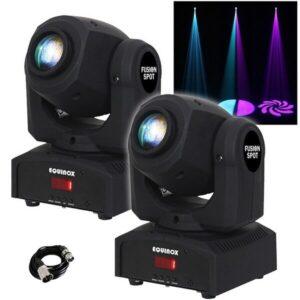 2x Equinox Fusion Spot MKII Cabeza móvil 12W Efectos de iluminación LED con cable DMX