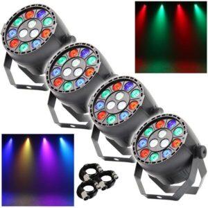 4x Equinox MicroPar RGBW LED DJ Disco Parcan Efecto de iluminación con cables DMX GRATIS