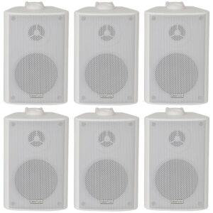 """6 bocinas estéreo blancas de 2 vías de 70 W para montaje en pared, 4 """"8 ohmios, música de fondo compacta"""