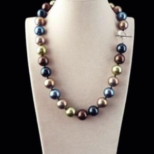 AAA Raro collar de perlas de concha de mar del sur redondo multicolor genuino de 12 mm