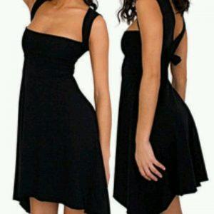 AMERICAN APPAREL vestido casual multi-way talla XS cuello halter Negro --MINT--