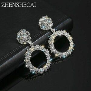 Accesorio de joyería de moda de pendientes de gota de estilo redondo de cristal punk de metal para mujer