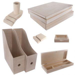 Accesorios de oficina de madera / 8 uds.  SET / Magazine A4 Rack File Desk Tidy Portalápices