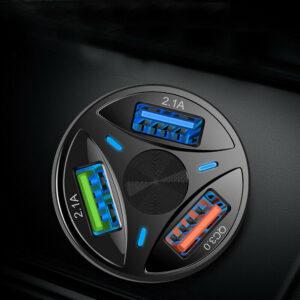 Adaptador de cargador de coche USB de 3 puertos Pantalla LED QC 3.0 Accesorios de coche de carga rápida