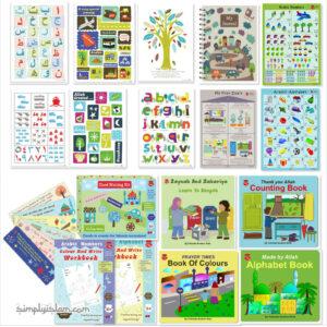 Alfabeto árabe y libros educativos islámicos, carteles, juegos para niños pequeños