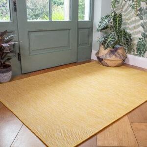 Alfombra de exterior amarilla lavable |  Alfombra de jardín de plástico resistente al desgaste |  Corredores ocre