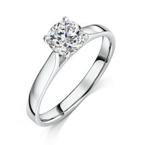 Anillo de compromiso de diamantes 0.90cts en oro blanco de 18 kt - Certificado