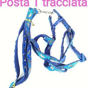 Artículos para mascotas pettorina con fantasia en nylon e stoffa, regolabile colore blu