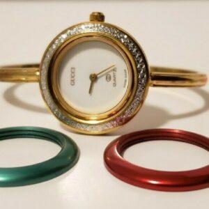 Auténtico reloj Gucci PEQUEÑO Brazalete de oro pequeño con biseles intercambiables 1100L