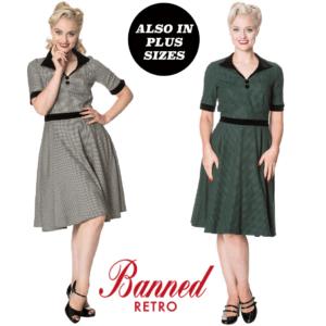 Banned Apparel se quitó los pies con el vestido swing de los años 50 con pata de gallo