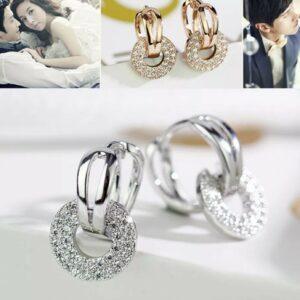 Bonitos pendientes de piedra de circonita de cristal pequeños para mujer / niñas para mujer, plateado / regalo dorado