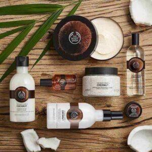 COCONUT Beauty Products Body Shop> Sutil aroma que le da a su régimen un toque exótico