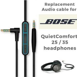 Cable de auriculares QC25 para Bose con micrófono y botones de volumen QC35