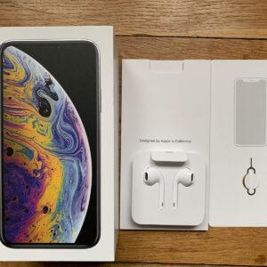 Caja Apple iPhone XS con accesorios, para iPhone plateado de 256 GB (no incluye iPhone)