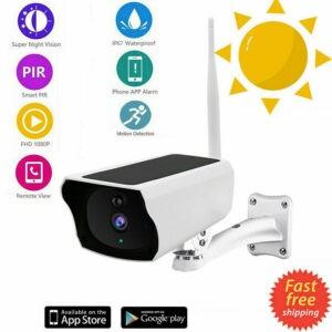 Cámara de seguridad IP WiFi 1080P CCTV para el hogar al aire libre con pilas y panel solar