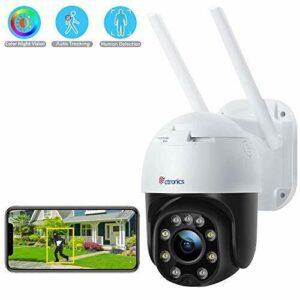 Cámara de seguridad para exteriores con visión nocturna en color, zoom digital Ctronics 1080P PTZ