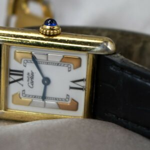 Cartier Tank Quartz Vermeil 925 Gold Plated Tri Color Dial Women's Watch 5057001