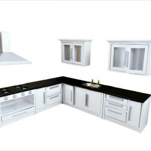 Casa de muñecas Juego de muebles de cocina ajustados en blanco y negro Unidades y electrodomésticos modernos