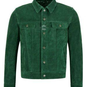 Chaqueta de cuero de camionero para hombre Chaqueta estilo camisa informal de gamuza verde 1280