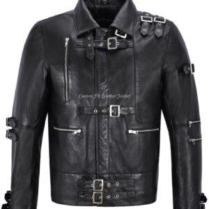 Chaqueta de cuero para hombre inspirada en Michael Jackson Chaqueta negra de moda musical MJ Bad