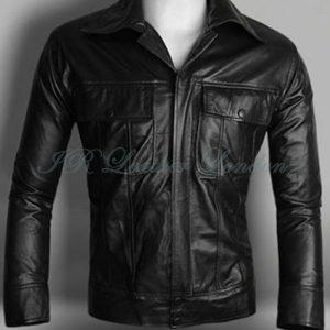 Chaqueta de moda de piel de cordero suave clásica negra de Elvis para hombre
