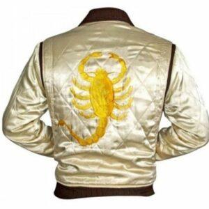 Chaqueta de película Gosling de diseñador Ryan con diseño elegante de satén Drive Scorpion para hombre