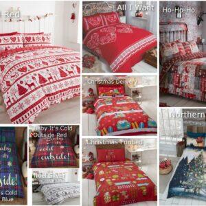 Christmas Quilt Duvet Cover & Pillowcase Bedding Bed Set Xmas Tree Gift Rudolph