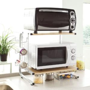 Cocina Estante para microondas Estante Rack Práctico Ahorro de espacio 2 Electrodomésticos Almacenamiento