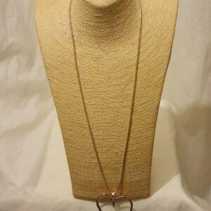 Colgante de collar de cadena de corazón de amor de oro rosa extralargo para mujer y niña