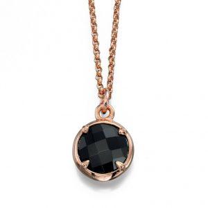 Collar con colgante de cristal negro chapado en oro rosa de moda Fiorelli 45 cm + 5 cm