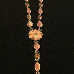 Collar de flores con diamantes de ojo de gato rosa (N22)