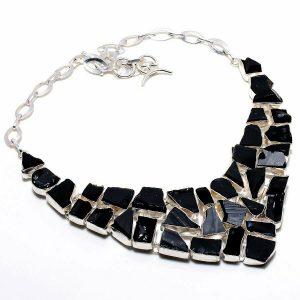 "Collar de piedras preciosas de turmalina negra plateado 18 """