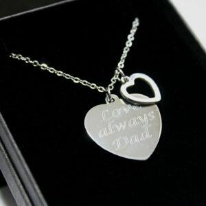 Collar grabado Corazón colgante Charm Regalos de cumpleaños de Navidad personalizados