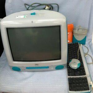 Computadora de escritorio retro azul Apple iMac M5521 con teclado y accesorios n. ° 832