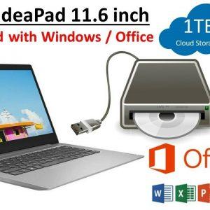 """Computadora portátil para juegos Lenovo AMD A4 11.6 """"64GB SSD, Win 10, cámara web, HDMI, USB 3, DVD RW"""
