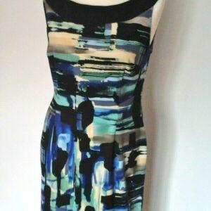 Connected Apparel Vestido entallado con estampado de salpicaduras abstractas múltiples Talla UK 12