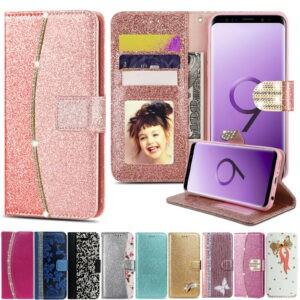 Cubierta de la caja del teléfono del tirón de la cartera del cuero del diamante del cristal del brillo de Bling para Samsung