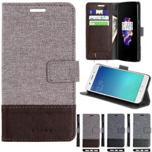 Cubierta magnética del caso del soporte del tirón de la tarjeta de la cartera del cuero de la lona de lujo para los teléfonos móviles