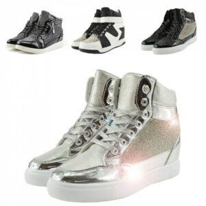 De las mujeres Tacón de cuña oculto Brillo brillante Zapatillas de deporte de caña alta Moda Zapatillas