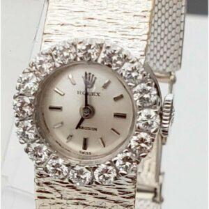 El reloj de pulsera Lady Rolex de oro amarillo sólido de 18 quilates con bisel de diamantes funciona con 28 g # 15-2