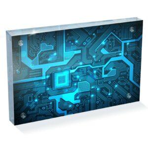 "Electronics Blue Technology Photo Block 6 x 4 ""- Escritorio Art Office Gift # 16935"