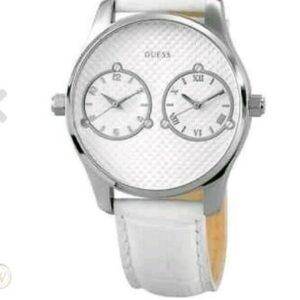 Elegante esfera blanca, reloj de pulsera de cuarzo de cuero blanco Guess Watches W80043G1