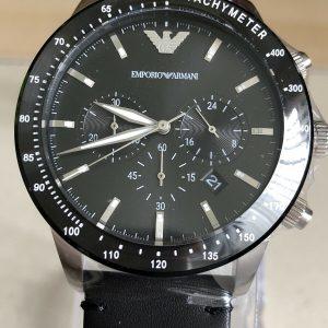 Emporio Armani Reloj cronógrafo de cuarzo para hombre con correa de cuero AR11243