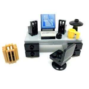 Escritorio de oficina LEGO con computadora, teclado y accesorios CITY Modular
