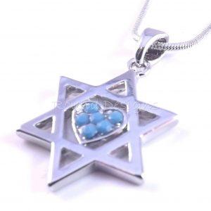Estrella de David Magen Judaica corazón collar colgante Kabbalah joyería plata piedra